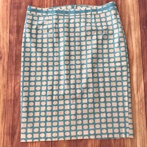 Nw/oT Boden Turquoise & Cream Pencil Skirt Sz 14L